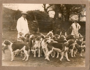 Tom Davies with hounds pre WWII